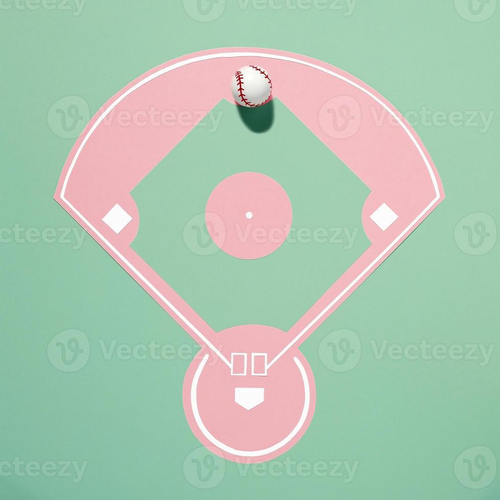 vue de dessus d'un terrain de baseball en papier découpé photo