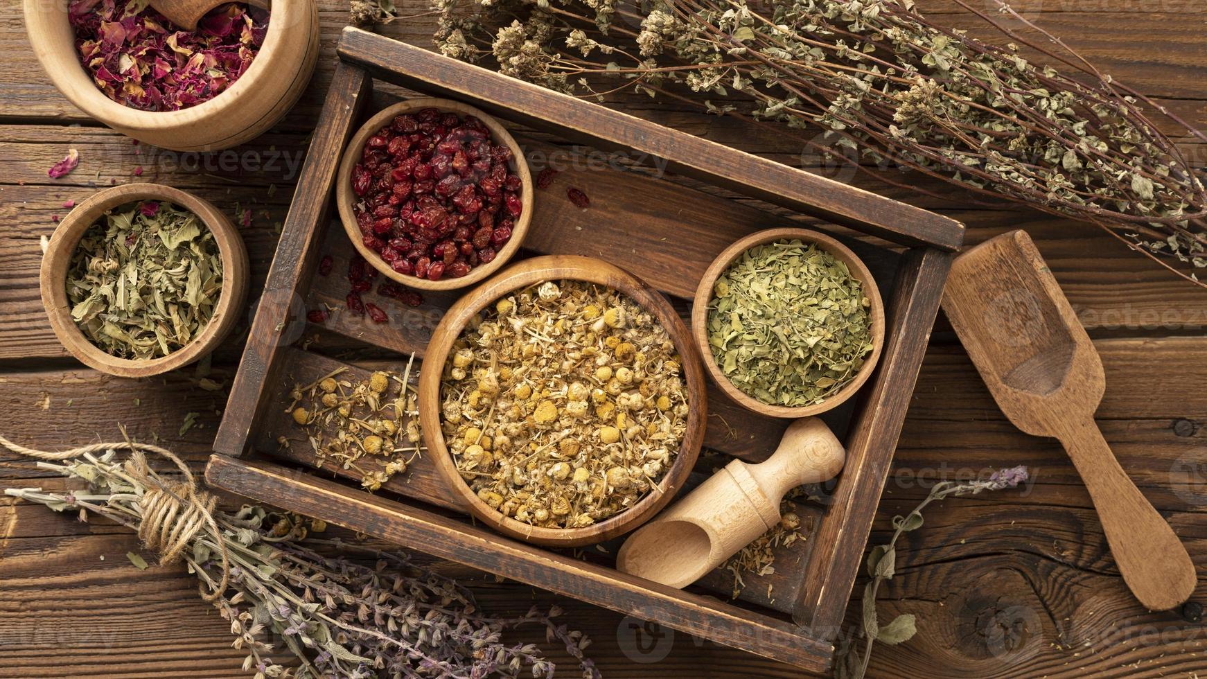 diverses herbes dans une boîte en bois photo