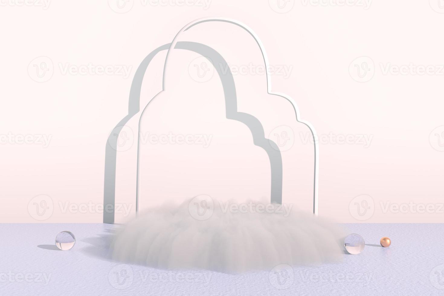 rendu 3d d'arrière-plan avec podium et scène de nuage minimale, arrière-plan minimal d'affichage du produit. photo
