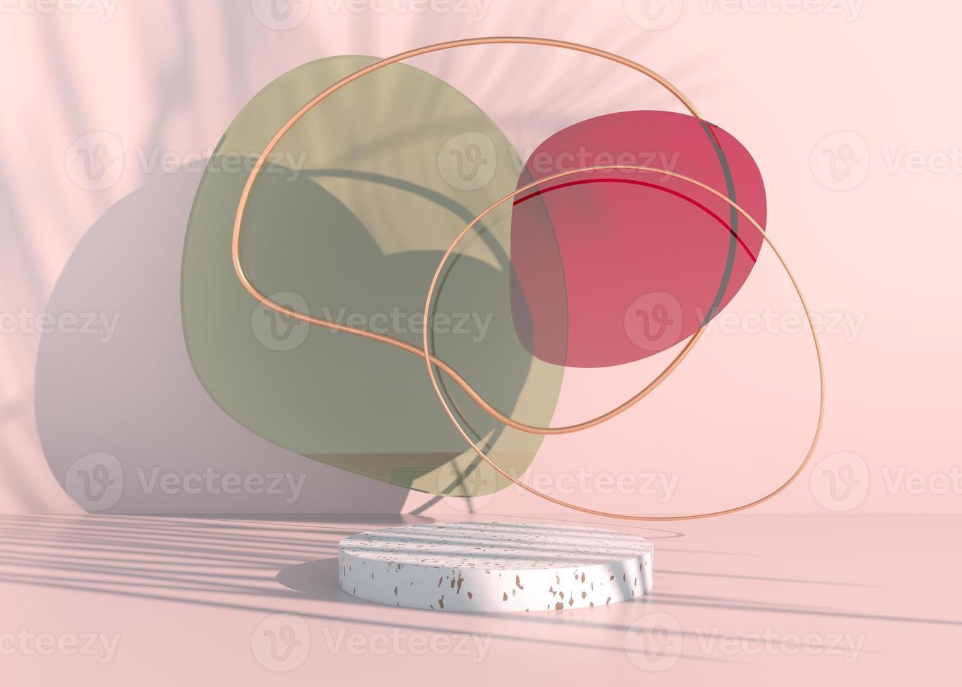 podium boho avec ombres de feuilles de palmier et couleurs pastel pour la présentation de produits cosmétiques. maquette de toile de fond de piédestal de vitrine vide. rendu 3D. photo