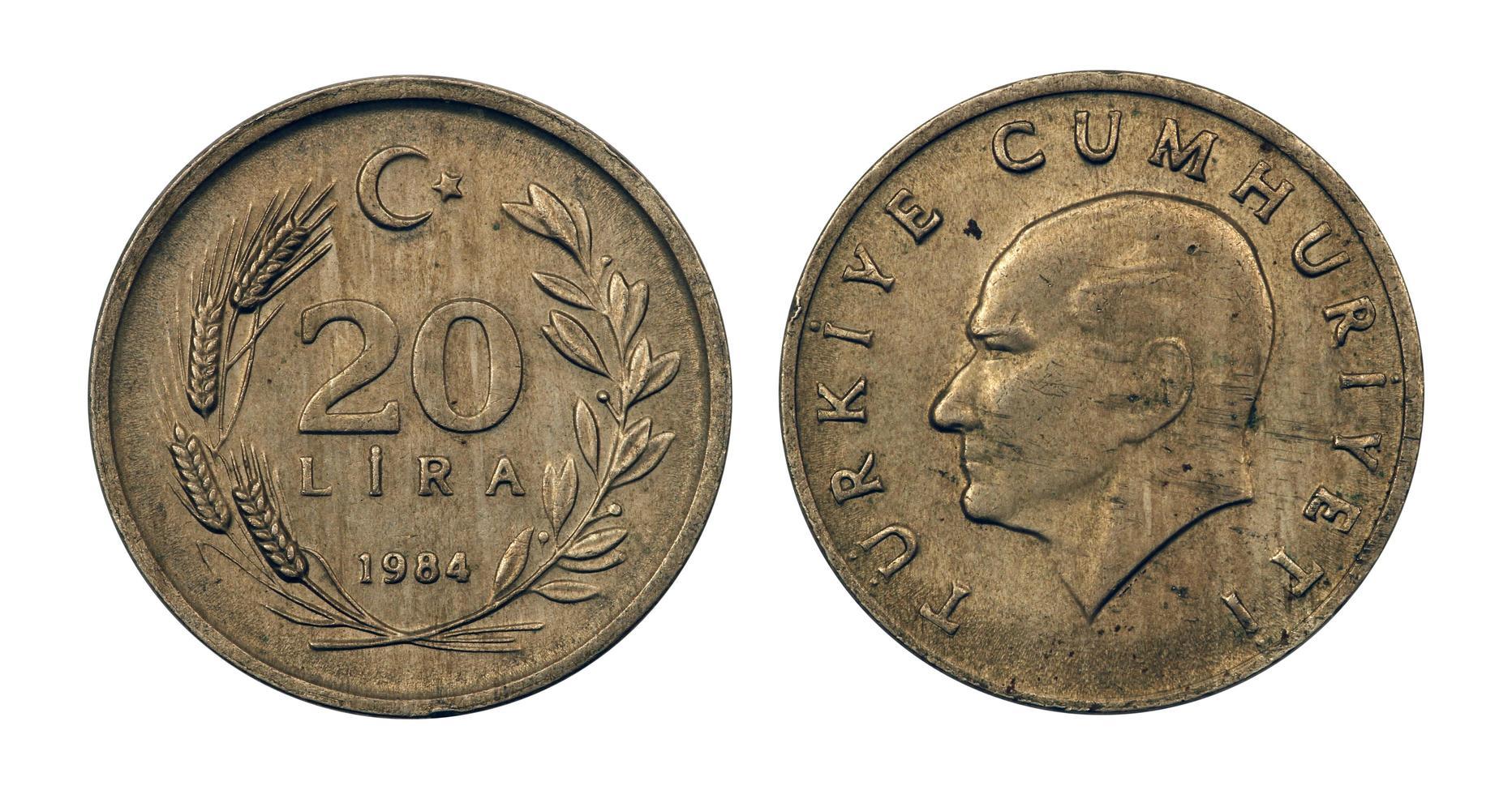 pièces de monnaie de la république de turquie photo
