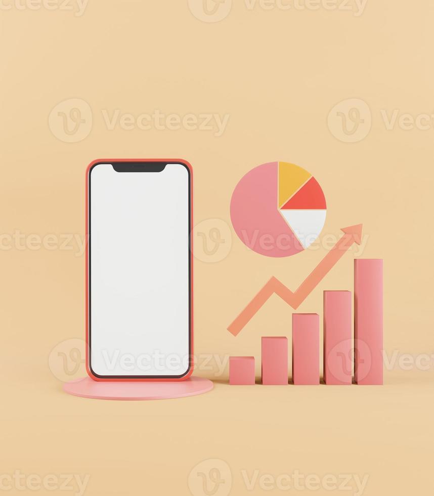 téléphone portable sur fond pastel avec des graphiques 3d. photo
