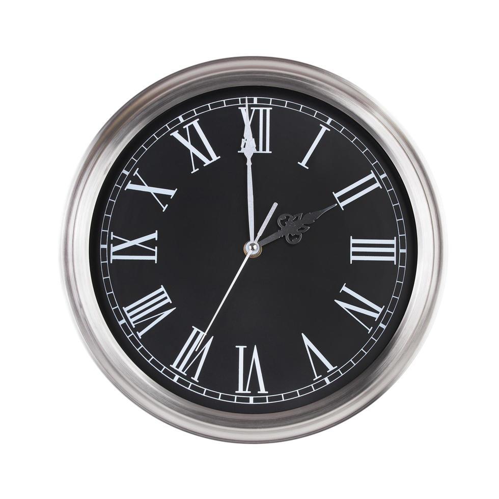 exactement deux heures sur l'horloge ronde photo