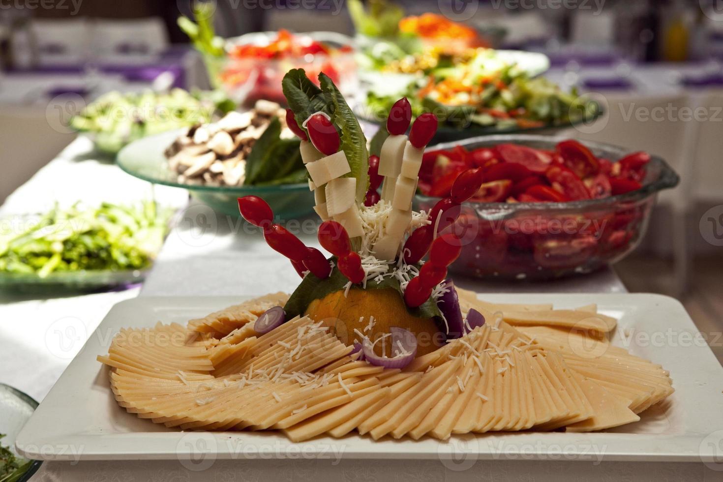 aliments incroyables et délicieux dans divers restaurants du monde entier photo