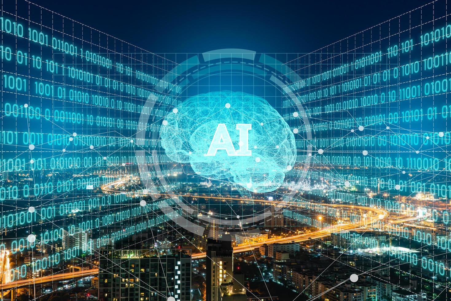intelligence artificielle ai et système de ville avancé. concept de réseau de ville et de communication intelligent. photo