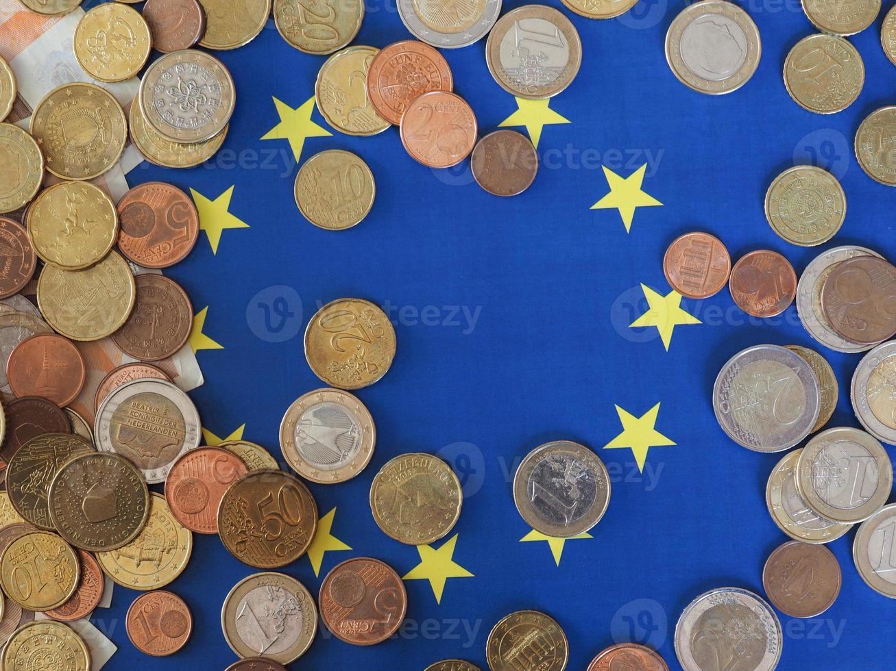 pièces en euros, union européenne, sur le drapeau photo
