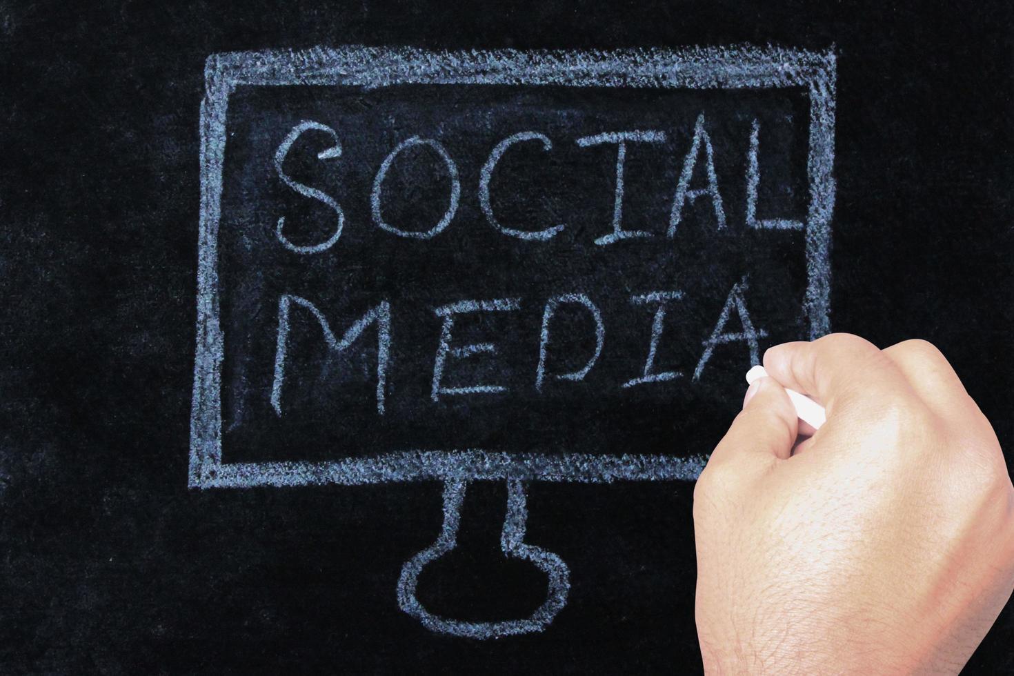 main qui écrit des mots sur les médias sociaux au tableau photo