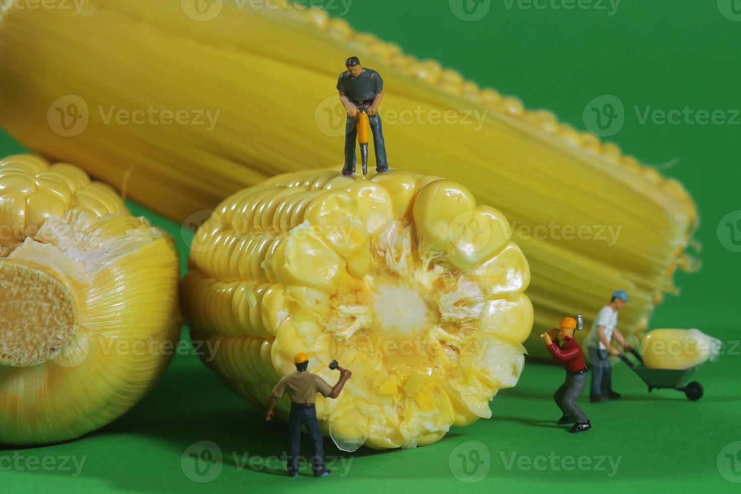 Travailleurs de la construction miniature dans l'imagerie alimentaire conceptuelle avec du maïs photo