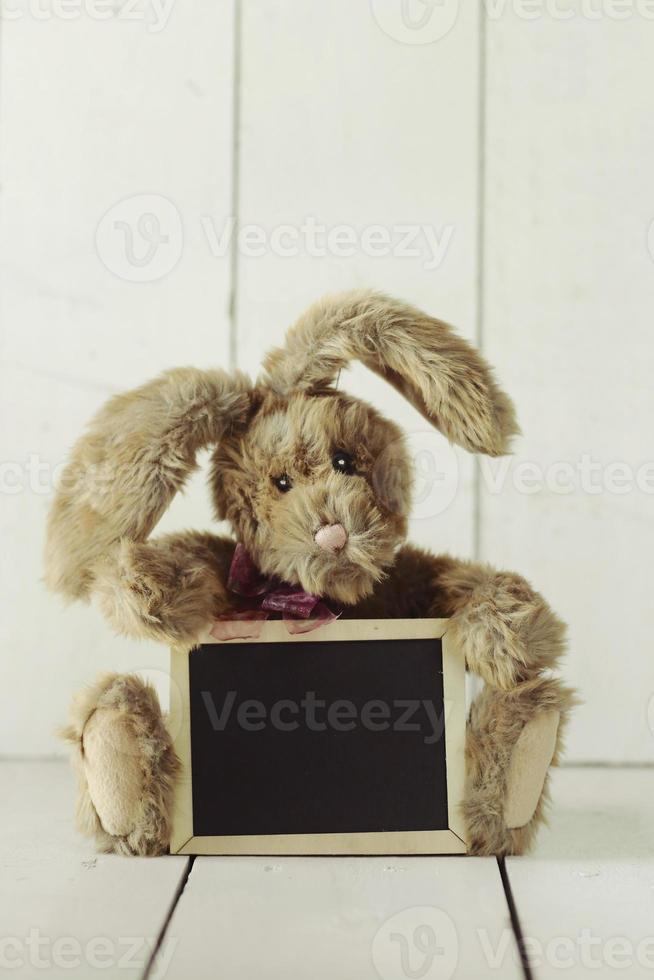 Ours en peluche comme fait maison lapin sur fond blanc en bois photo