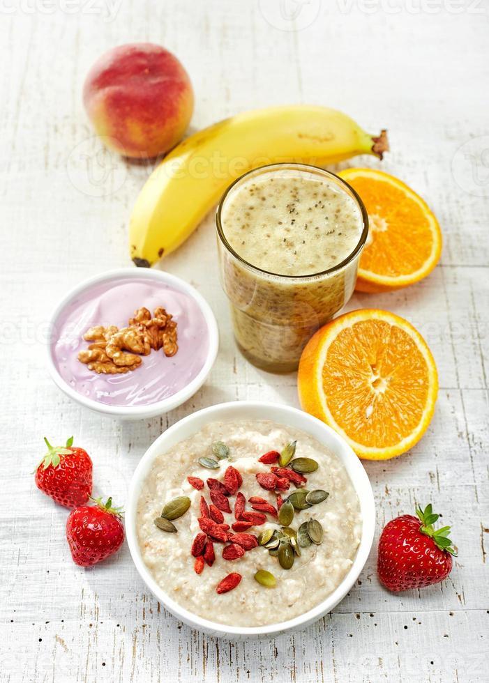 ingrédients de petit-déjeuner sain, vue de dessus photo