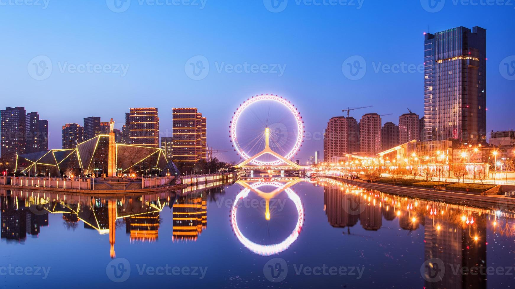paysage de grande roue de tianjin photo