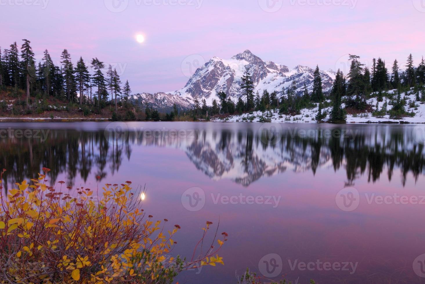coucher de soleil au lac photo