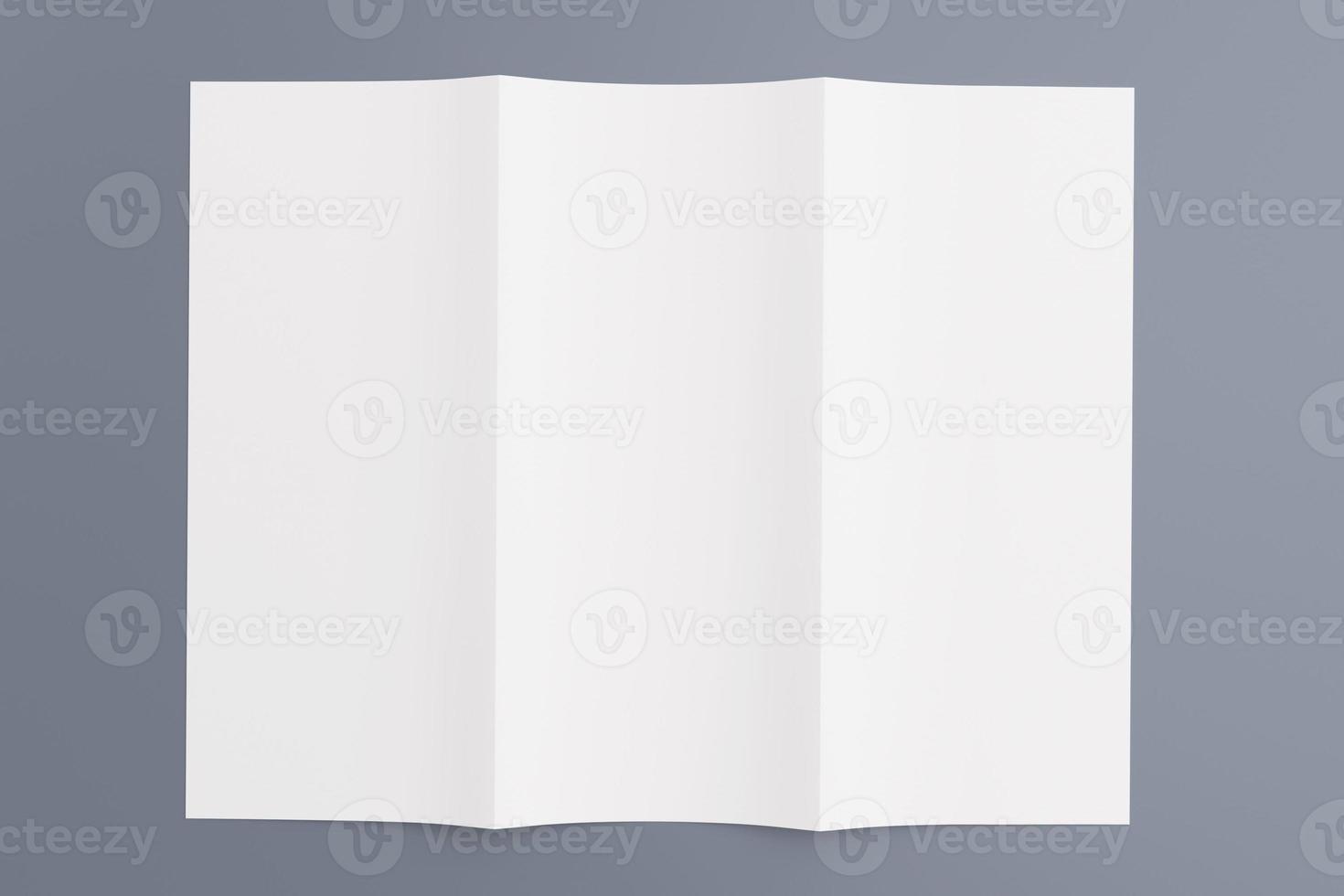 brochure vierge tri fold isolée sur fond gris photo