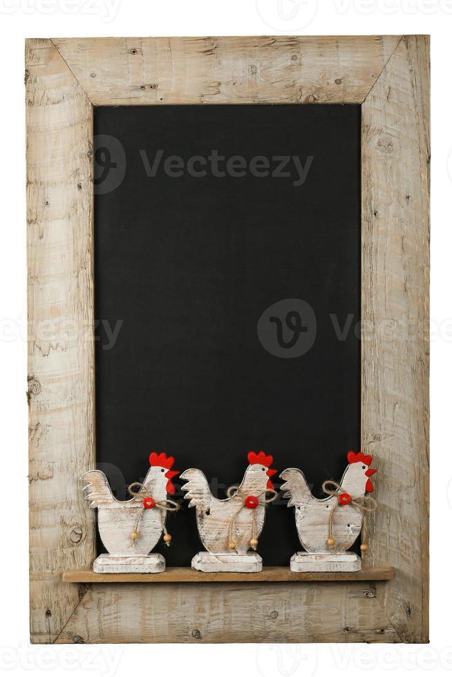 Coq de poulet de Pâques vintage tableau noir en bois récupéré photo