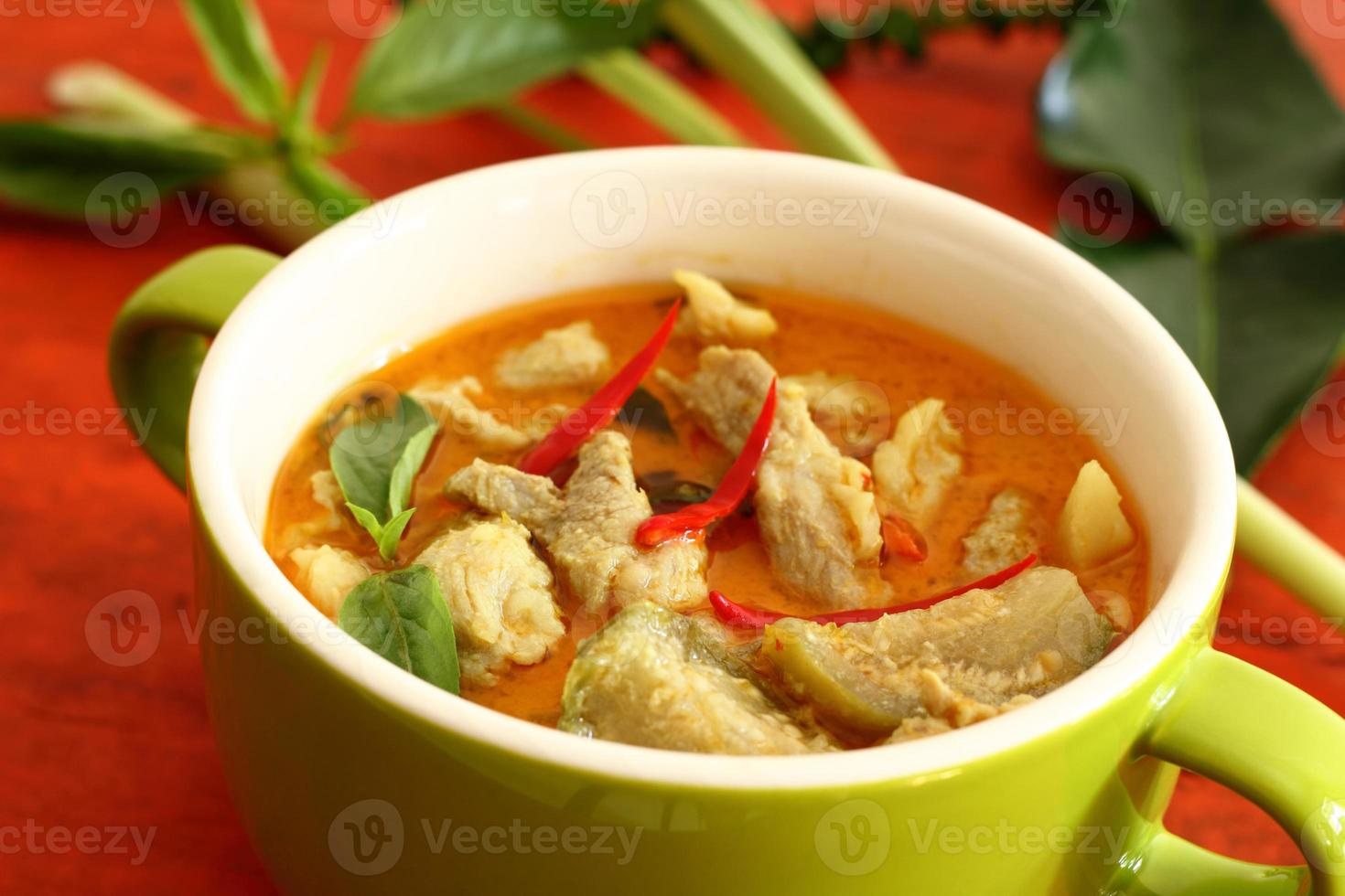 porc au curry vert. photo