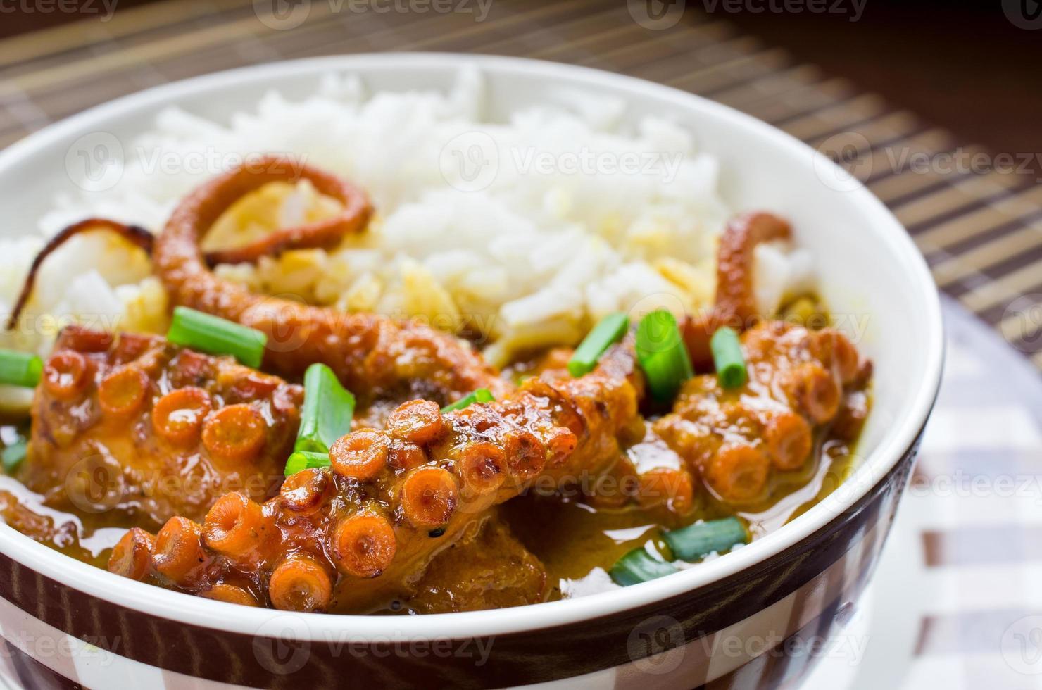 poulpe au curry avec riz et ciboulette photo