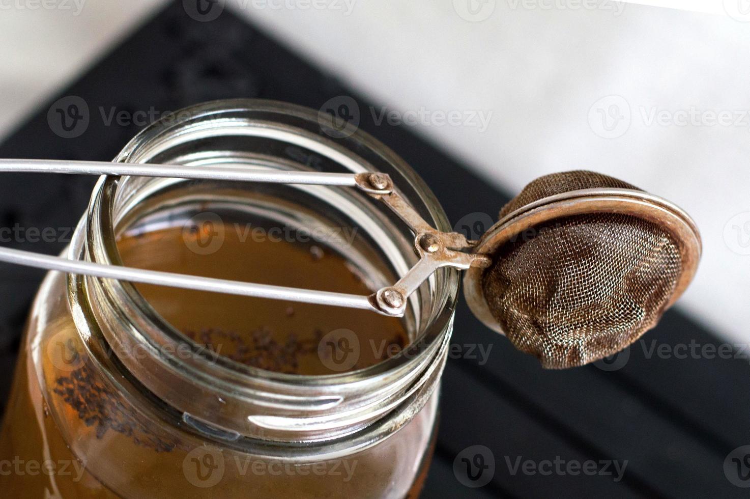 passoire à thé macro shot photo