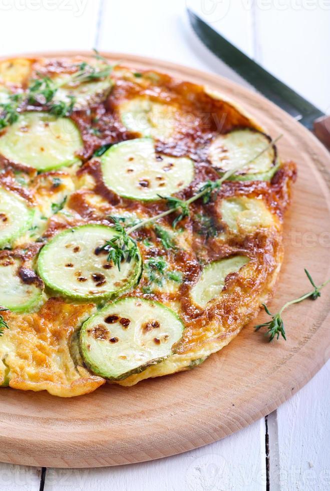 courgette, omelette aux épinards et romarin photo