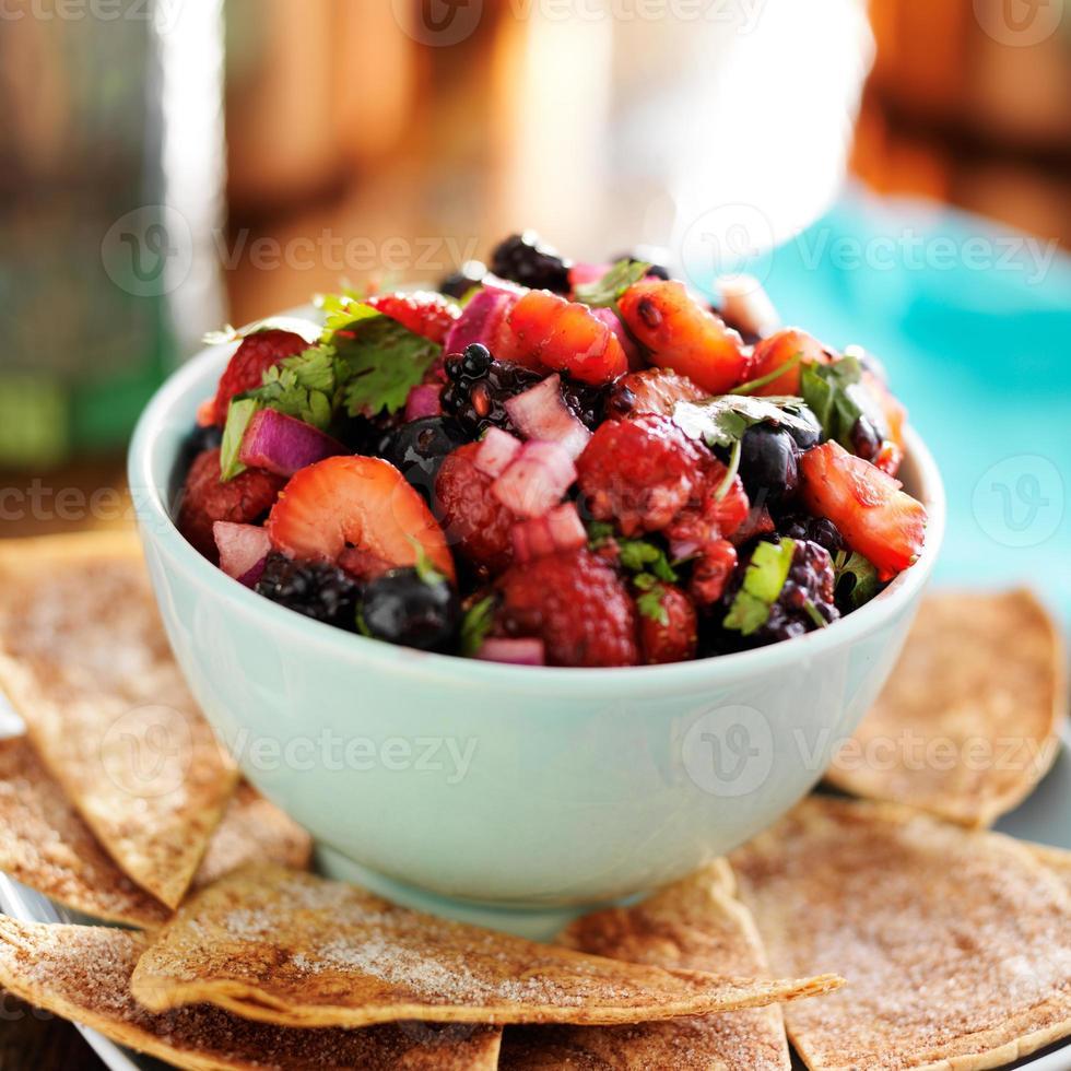 salsa aux petits fruits avec croustilles tortillas photo