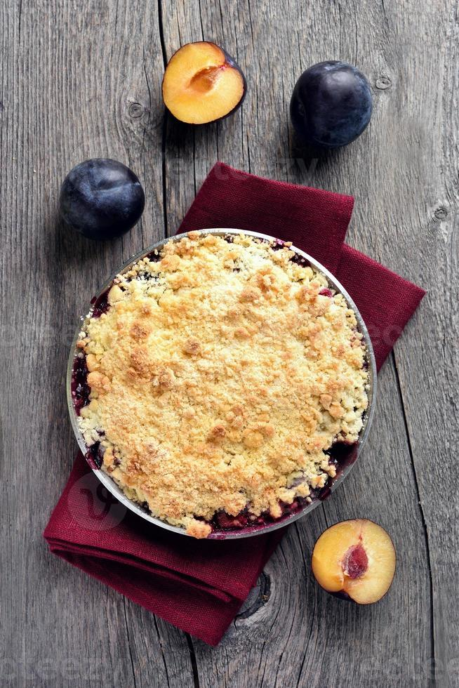 tarte aux prunes crumble photo