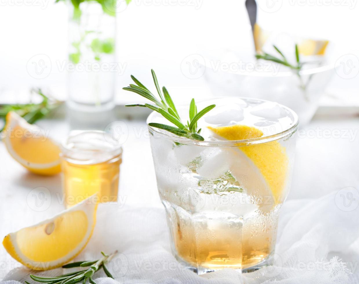 Gin, citron, pétillant de romarin, cocktail photo