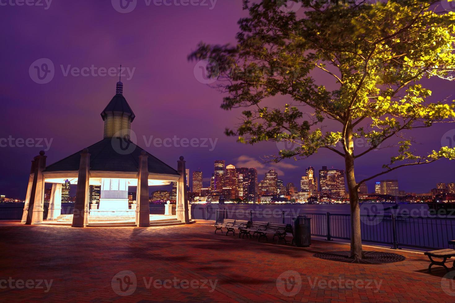 Boston skyline at sunset piliers park massachusetts photo