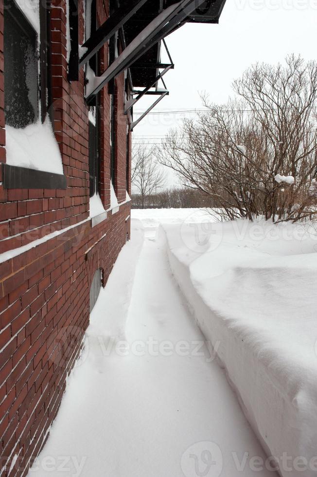 Portland, Maine après un blizzard d'hiver enneigé. photo