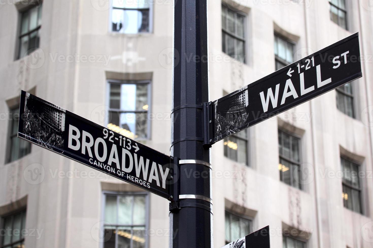 panneaux de signalisation de Broadway et de Wall Street photo