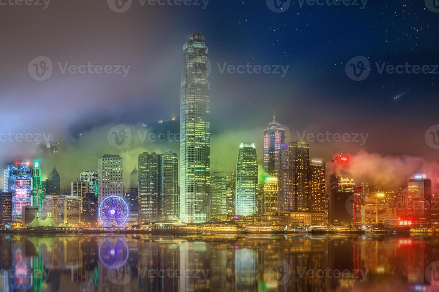 panorama de hong kong et du quartier financier photo