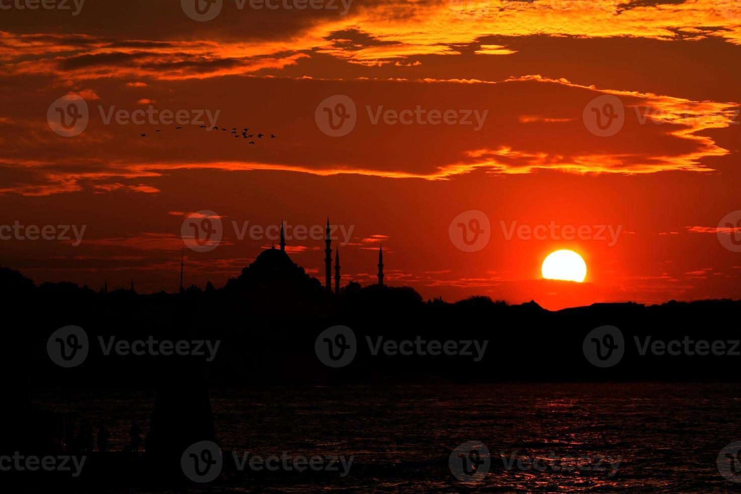 coucher de soleil mosquée bleue photo