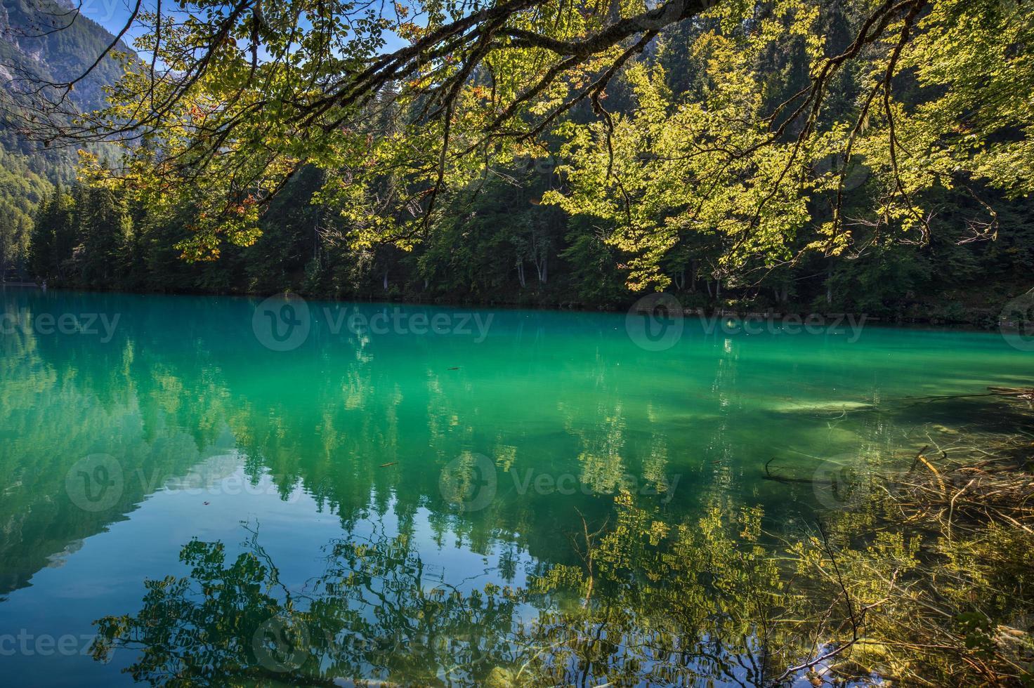 lago di fusine - lac mangart en été photo