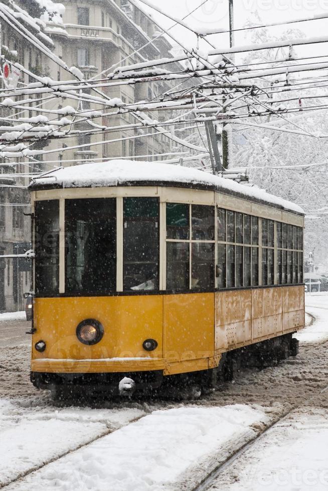 tram sous la neige photo