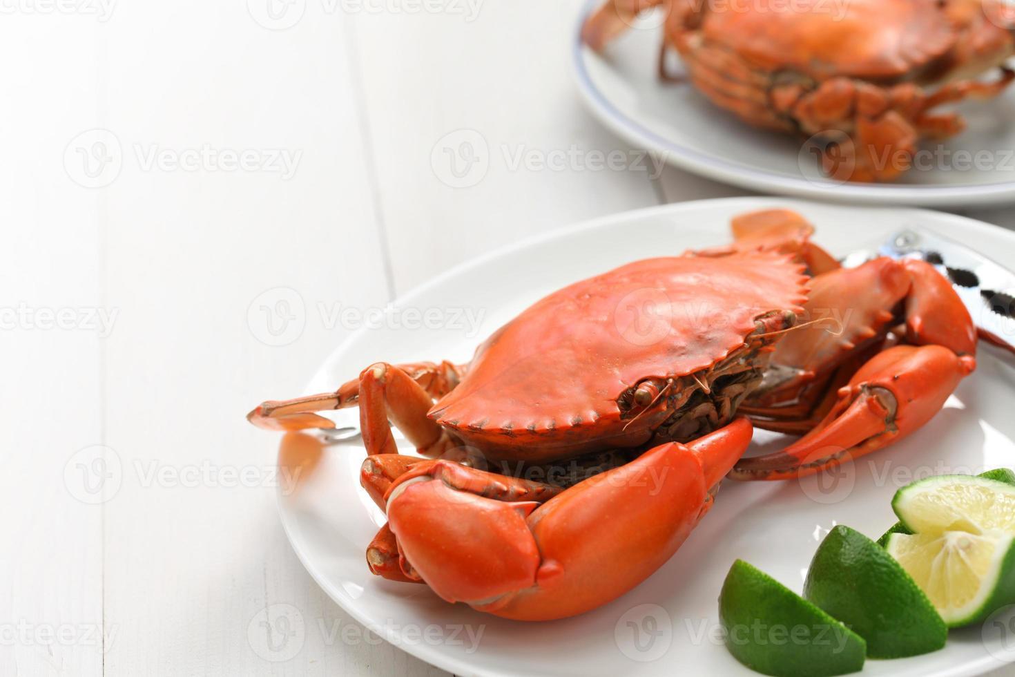 crabe de boue cuit à la vapeur, mâle et femelle photo