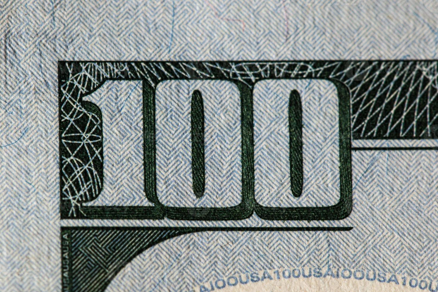 détail du billet de 100 dollars photo
