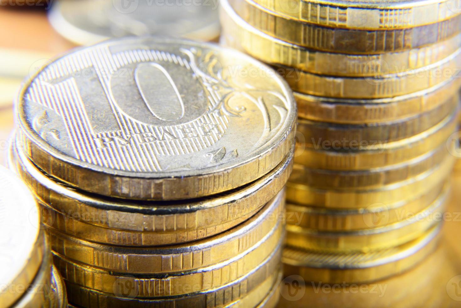 piles de pièces en rouble photo