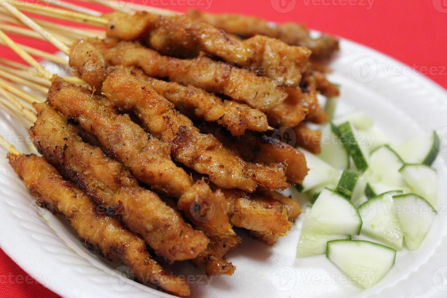 satay, brochettes de viande de kebab rôties traditionnelles photo