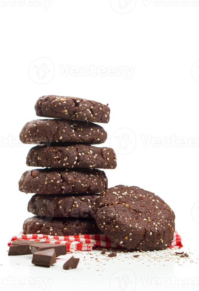 collation saine, biscuits aux graines de chia au chocolat noir photo