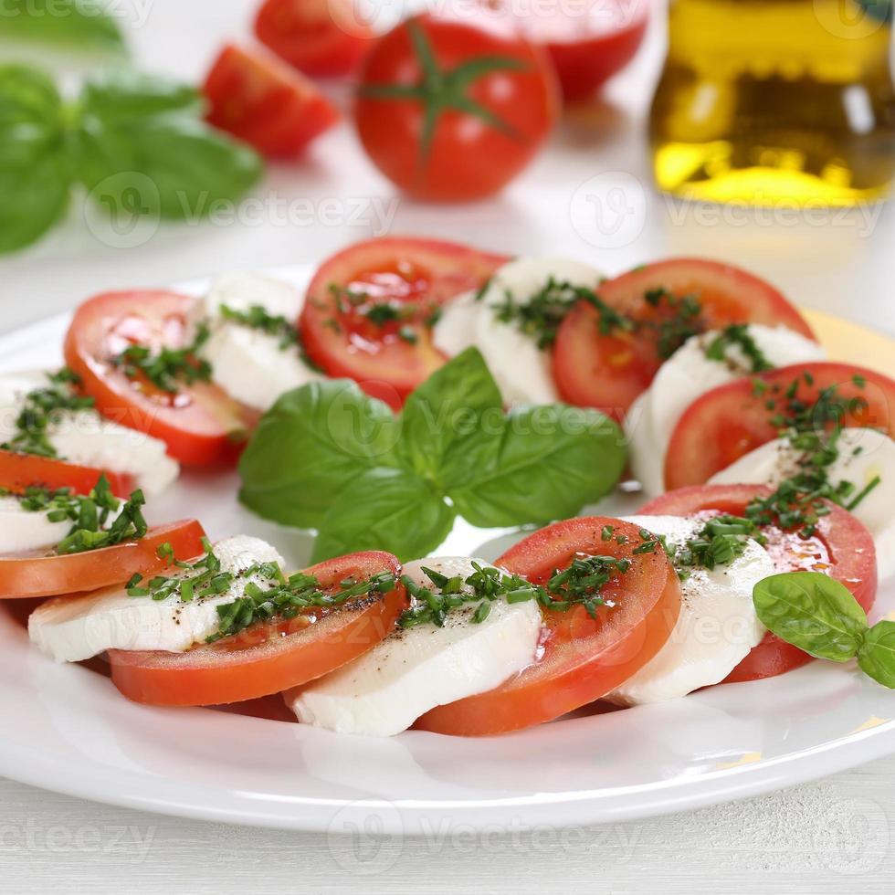 salade caprese avec des ingrédients comme les tomates et le fromage mozzarella photo