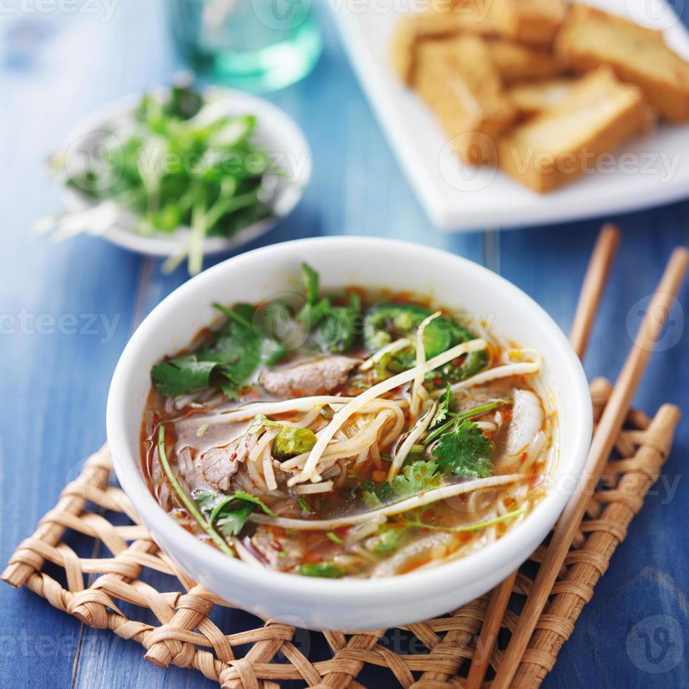 soupe de boeuf pho traditionnelle vietnamienne photo