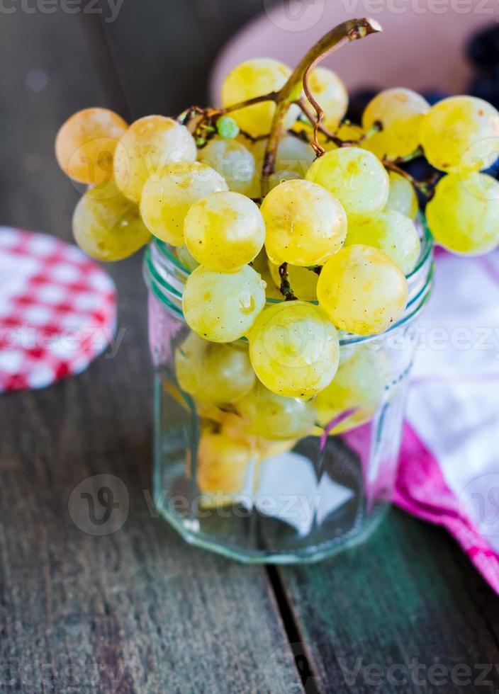 rameau de raisins verts dans un verre, verticalement photo