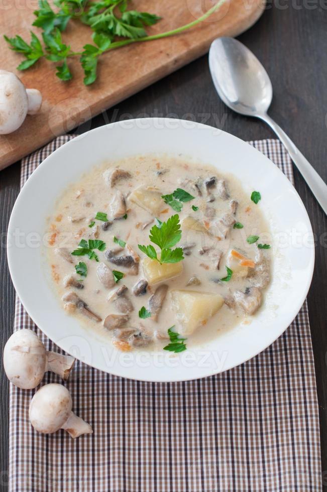 assiette de soupe aux champignons végétarienne photo