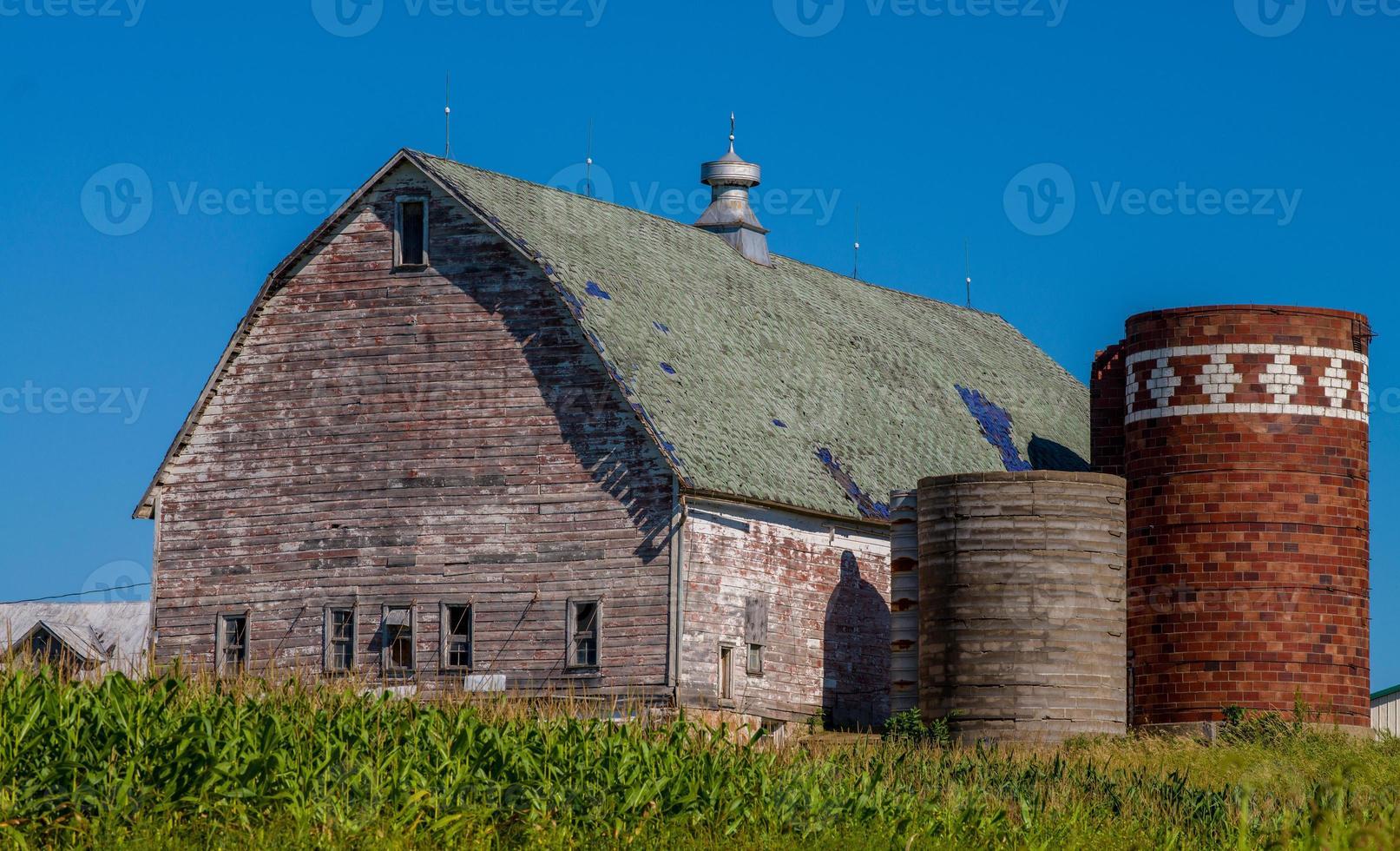 grange altérée, silos, champ de maïs photo