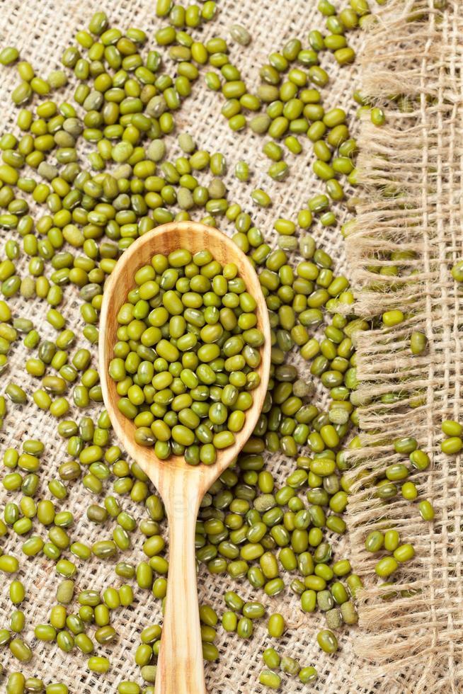 cuillère en bois avec tas de haricots mungo biologiques verts crus photo