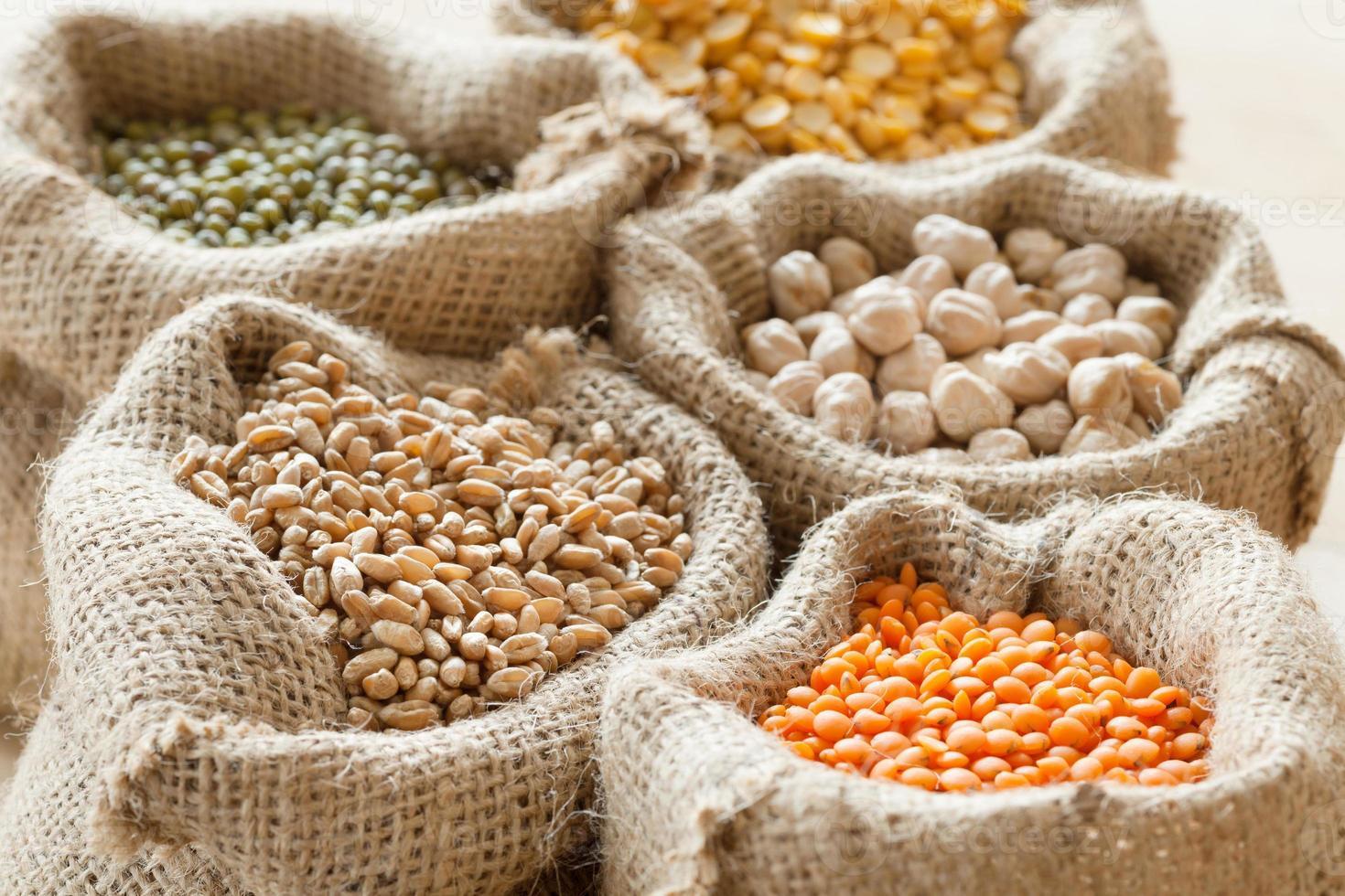 sacs de blé, pois chiches, lentilles rouges et mungo vert photo