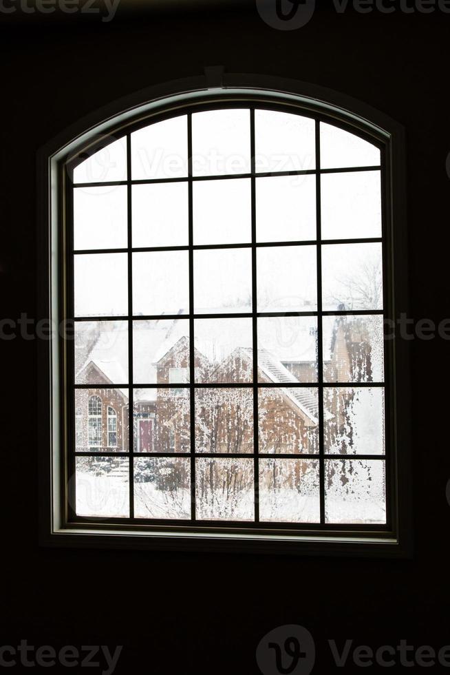 l'hiver dans la fenêtre photo
