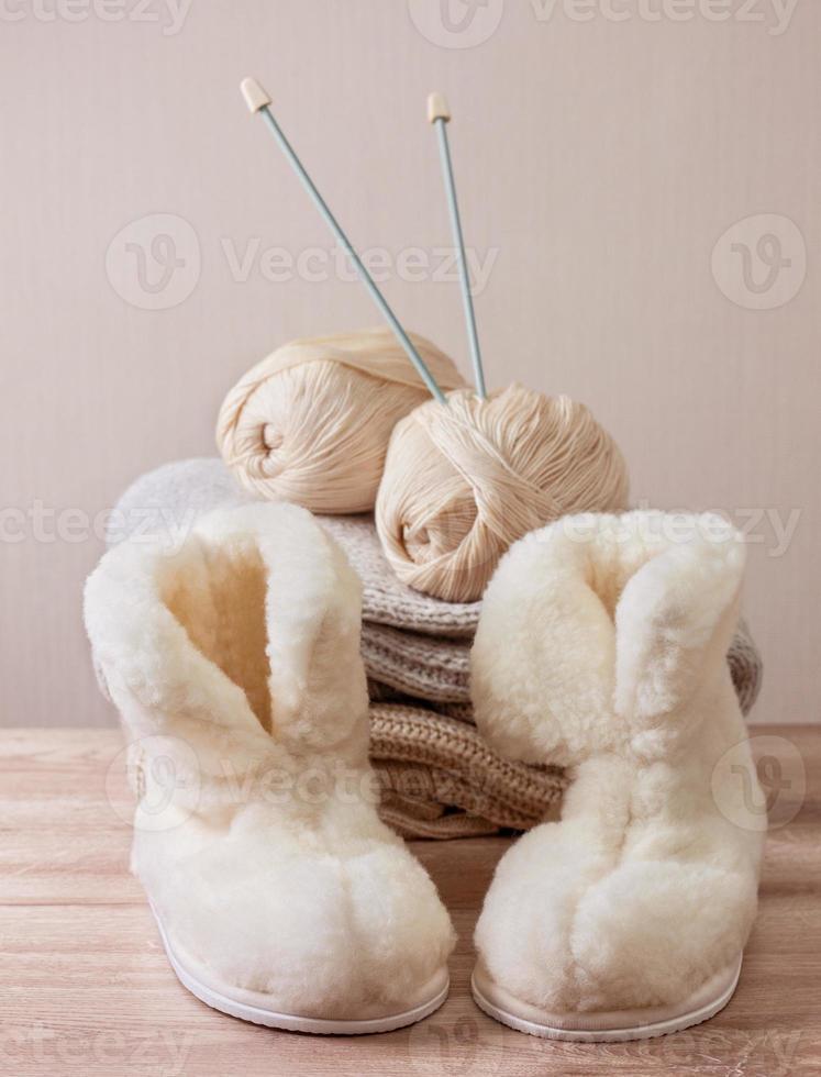 pantoufles d'hiver en peau de mouton (mise au point sélective) photo