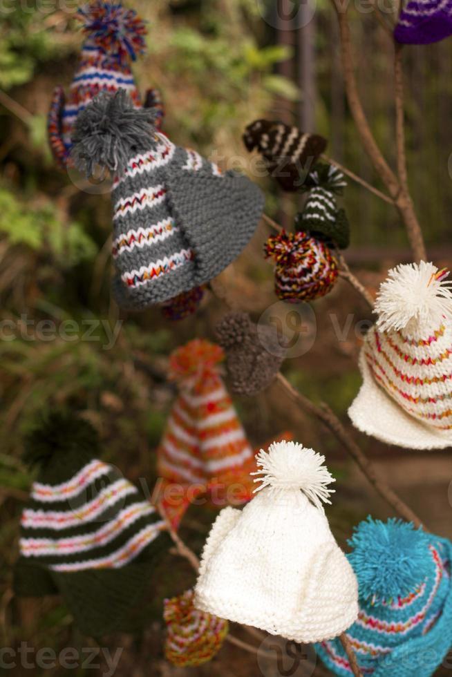 casquettes chaudes à la main d'hiver. photo