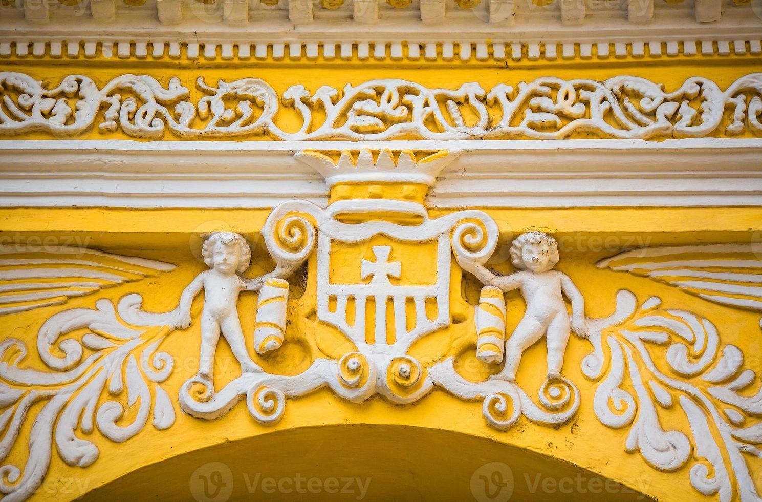 Façade de détail de l'église d'Antigua au Guatemala photo
