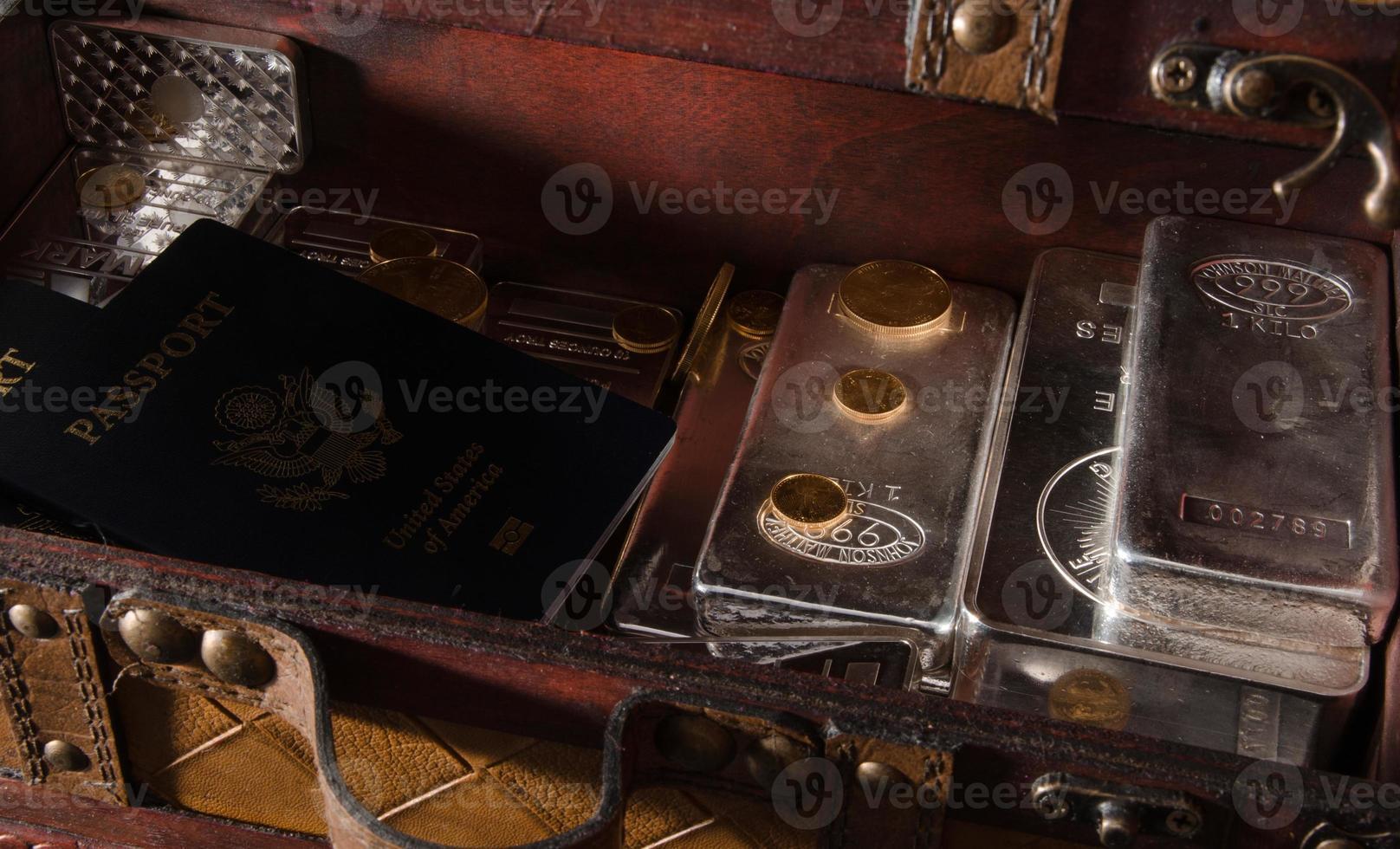 stock de pièces d'or et d'argent, barres avec passeport photo