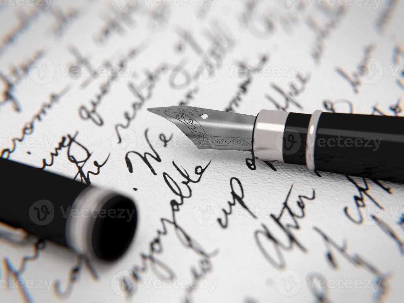 lettre manuscrite et stylo plume photo